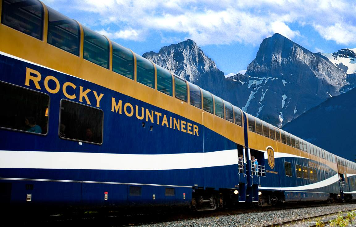 Famous Rocky Mountaineer train GoldLeaf Service carriage