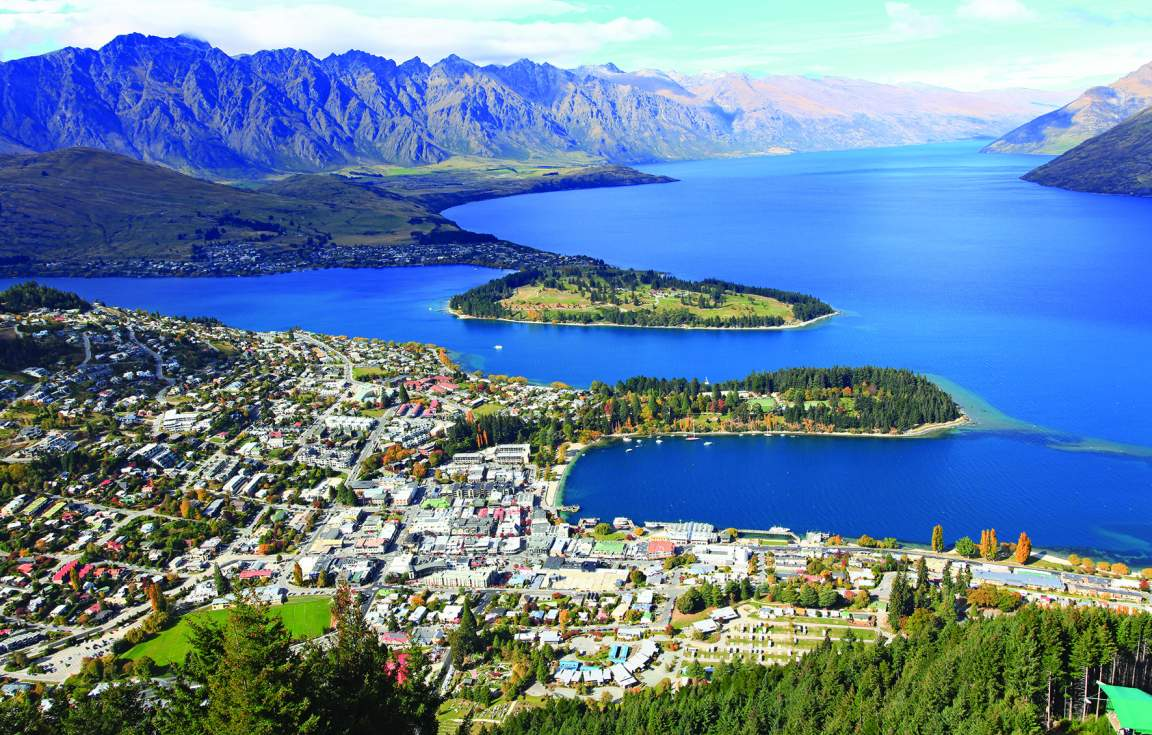Aerial view of Queenstown & Lake Wakitipu