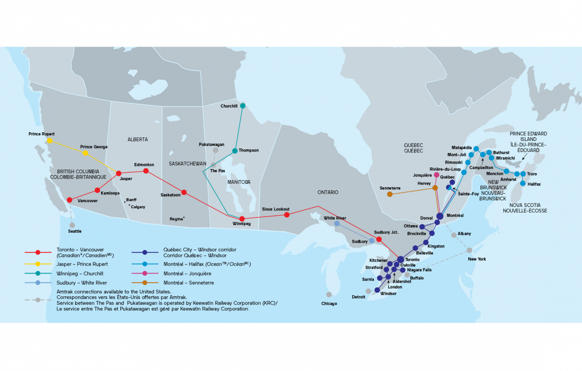 VIA Rail Canada | First Cl Holidays Canada Railroad Map on canada water map, burlington northern railroad, chicago, burlington and quincy railroad, canada ghetto, union station, soo line railroad, canada city map, canada territory map, great northern railway, grand trunk western railroad, canada transportation map, canada zoo, bc rail, canada government map, rail transport, canada rail travel packages, canada america map, britain and america map, norfolk southern railway, illinois central railroad, canada smoke, csx transportation, canada poverty, atchison, topeka and santa fe railway, canada climate map, go transit, canadian pacific railway limited, canada address format, canada country map, grand trunk railway, via rail, kansas city southern railway, canada wildfires, northern pacific railway, canada topographic map, canada rail system map, canada mining map, union pacific railroad,